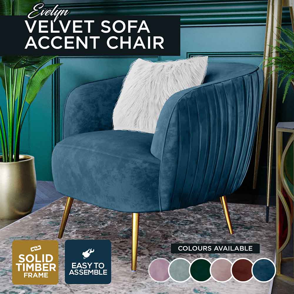 Modern Accent Armchair Velvet Settee 2 Seater Couch Cushioned Chairs Lounge Sofa